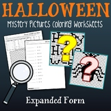 Math Mystery Pictures Place Value Halloween, Expanded Form Coloring Pages