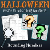 Halloween Rounding Worksheets, Place Value Rounding Coloring Sheets