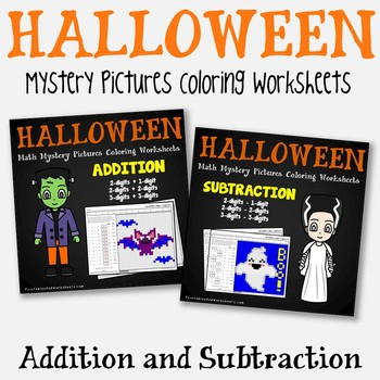 Halloween Addition And Subtraction Coloring Pages By Printables And