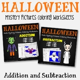 Addition And Subtraction Worksheets Color By Number Halloween Math Sheets