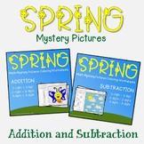 Spring Adding & Subtracting Review Worksheets, Math Hidden Picture Coloring Page