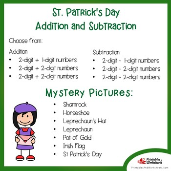 St. Patrick's Day Addition and Subtraction Coloring Pages