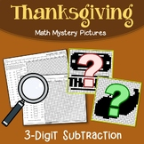 3-Digit Color By Number Subtraction Thanksgiving Mystery Picture Sheets