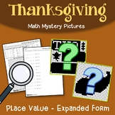 Math Mystery Pictures Place Value Thanksgiving, Expanded Form Coloring Pages