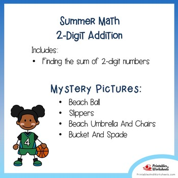 Summer Math 1st Grade Basic Addition Color Page, Summer Addition Color Worksheet