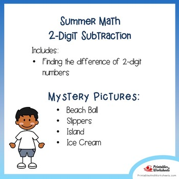 Color By Number Subtraction Summer Math Review 2nd Grade Mystery Picture Sheets