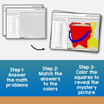Math Art Activities Summer Color By Number Subtracting Strategies 3 Digit Number