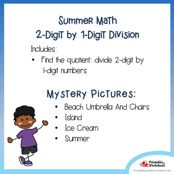Mystery Picture Activity Packet Summer Math Division Facts Coloring Worksheets