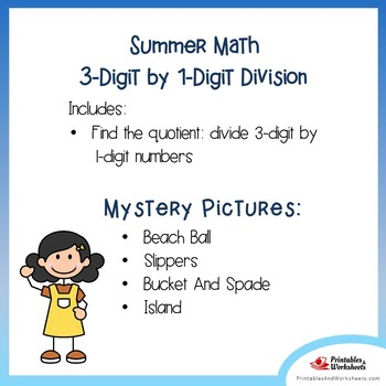 Summer 3-Digit by 1-Digit Division Coloring Pages