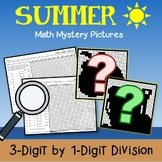 Color Pages Mystery Math Picture Summer Division Practice 4th Grade Worksheets