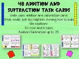 48 Addition/Subtraction Math Task Cards with Unifix Cubes