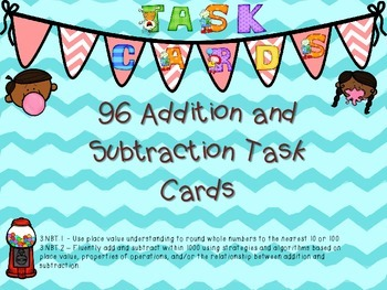 96 Addition and Subtraction  Task Cards