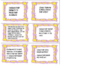 48 Argument/Opinion/Persuasive Prompts for Grades 4-8 Supporting Common Core