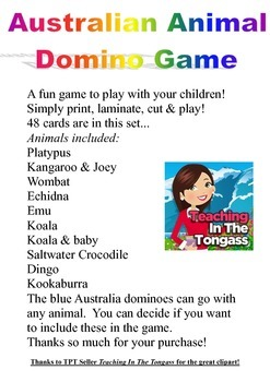 Australian Animal Theme Fun Domino Game In Color For the Juniors Just Laminate