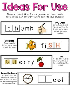 48 Beginning & Ending Digraph (CH, SH, TH, WH, PH) Word Work Cards