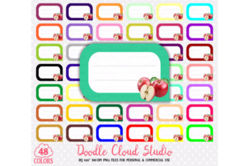 48 Colorful Apple Labels Clipart Fruit Apples Labels Stickers Icons.