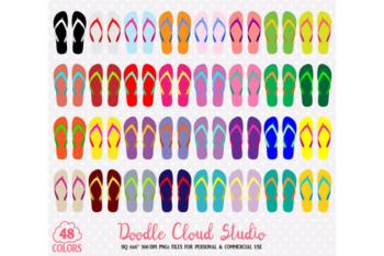 48 Colorful Flip Flop Clipart Summer Beach Sandals stickers Holyday clip art