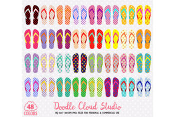 48 Colorful Patterned Flip Flop Clipart Summer Beach planner stickers clipart