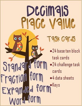 48 DECIMAL TASK CARDS- Place value to tenths and hundredths place