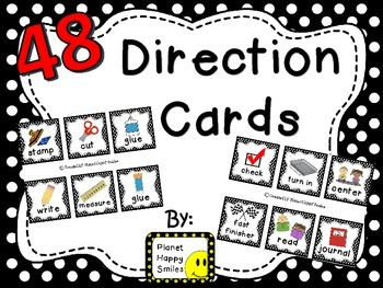 48 Directions Cards~ Black and White Polka Dot