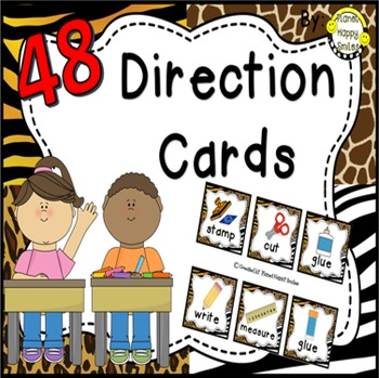 48 Directions Cards~ Jungle/Safari Print