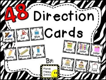48 Directions Cards~ Zebra Print