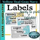 48 Drawer Labels --Gray Teal White Yellow Chevron Stripes Plus