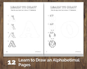 48 Drawing & Coloring Pages  – Alphabetimals Creative Printables