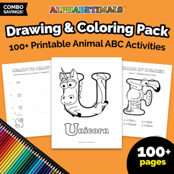 Alphabetimals™ Drawing & Coloring Pack - 100+ Printable Animal ABC Activities