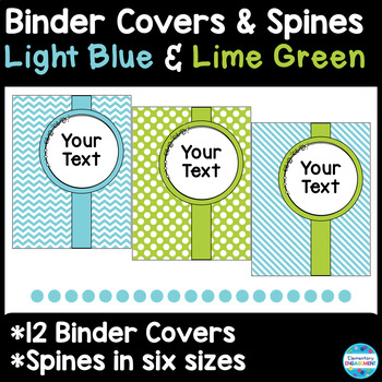 48 Editable Binder Covers & Spines in Light Blue and Lime Green