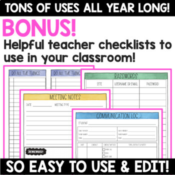 Editable Grade Sheets and Checklists for Teachers