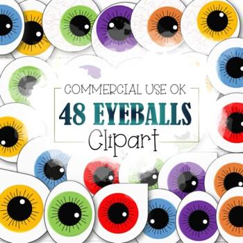 48 Eyeballs Clipart (Cu and Cu4cu OK) - INSTANT DOWNLOAD
