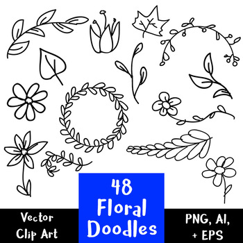 48 Floral Doodles | Hand Drawn Vector Clipart | Wreath, Leaves | PNG, AI, EPS