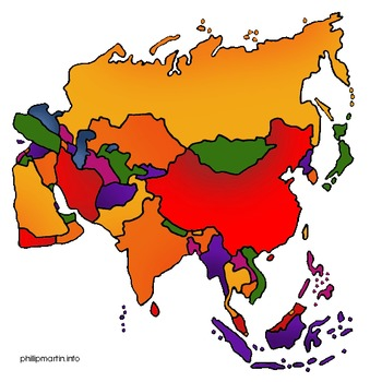 48 Geography/Map Internet Assignments for Continent of Asi