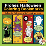German Halloween Bookmarks for Coloring Frohes Halloween Lesezeichen auf Deutsch