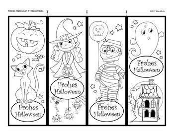 German Halloween Bookmarks for Coloring Frohes Halloween Lesezeichen auf Deutsch