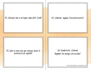 Imperfect Conversation Task Cards Spanish Speaking practice El imperfecto