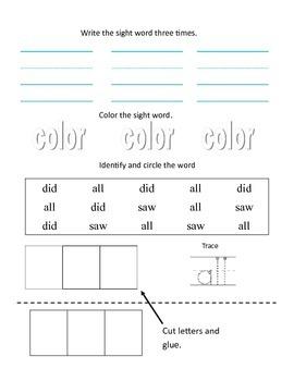 48 Kindergarten Sight Words