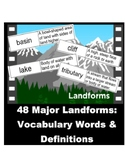 Geography Bulletin Board 48 Land Forms Words and Definitions Word Wall