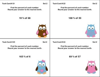 48 Math Task Cards- Grade 6-Percent and Rounding-CCSS.6.RP.A.3.C