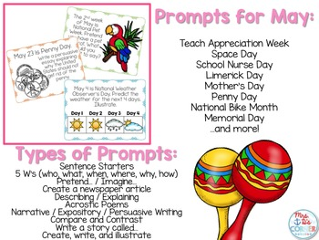 May Photo Writing Prompt Task Cards