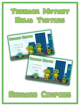 48 Ninja Turtle Reward Coupons - Colorful Behavior Incentive Scratch Off Tickets