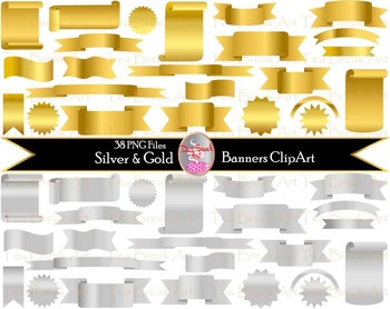 48 PNG Files- Gold and Silver Banners Clipart - Digital Cl