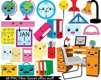 48 PNG Files- Kawaii Office Stuff ClipArt- 300 dpi 113