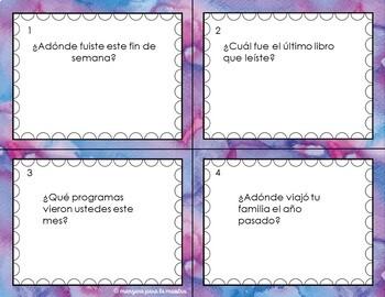 48 Preterite Conversation Task Cards - Spanish El pretérito