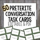 Preterite Conversation Task Cards Spanish El pretérito Speaking Practice