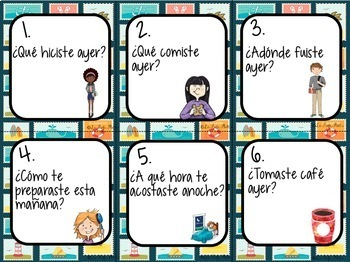 48 Preterite Tense Conversation Cards for Spanish Class