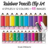 48 Rainbow PENCILS Clip Art