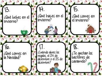 Spanish Christmas Activity - 48 Spanish 1 Conversation Cards |Speaking Activity
