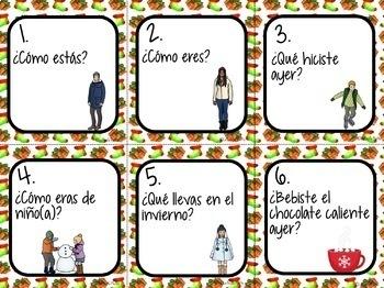 Spanish Christmas Activity - 48 Spanish 2 Conversation Cards | Speaking Activity